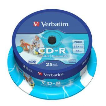 Image of   Printable CD-R Verbatim 43439 700 MB 52x 25 pcs