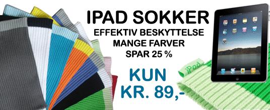 Billige iPad Sokker/Socks i Mange farver som sort, rød, blå, orange, hvid og grå