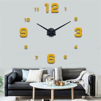 Image of   Moderne 120x120 cm væg ur i klassiak stil guld