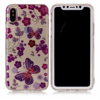 Image of   Nice Design Cover i blød TPU plast til iPhone X - Purple Butterflies