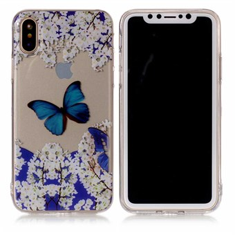 Image of   Nice Design Cover i blød TPU plast til iPhone X - Blue Butterfly