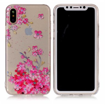 Image of   Nice Design Cover i blød TPU plast til iPhone X - Pink Flowers