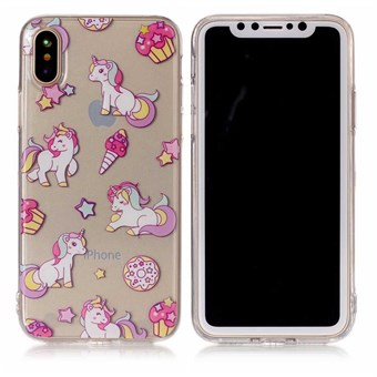 Image of   Nice Design Cover i blød TPU plast til iPhone X - Unicorn