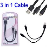 3 i 1 USB Data Sync Charger Cable Mini 5 pin og Micro USB 5pin