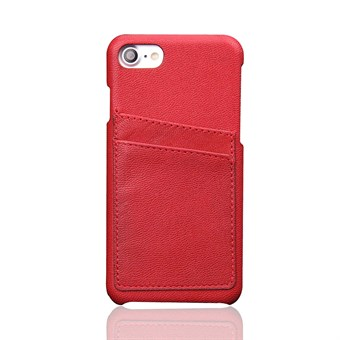 Image of   iphone 7/8 Pure Color Card Slot Cow Leather PC Back Cover - Rød / under updatering