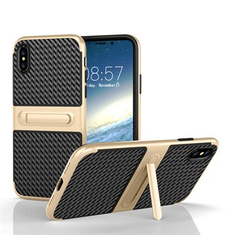 Image of   Fancy Slim Cover i TPU plast og Carbon fiber m/Kickstand til iPhone X - Lys Guld