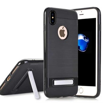 Image of   High Fashion Stander Cover i TPU plast og Silikone til iPhone X - Sort