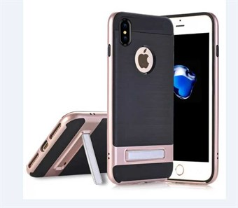 Image of   High Fashion Stander Cover i TPU plast og Silikone til iPhone X - Rose Guld