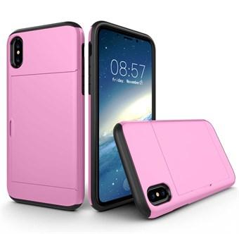 Image of   IPhone X Hybrid Cover i TPU plast og Silicone m/kortholder - Pink