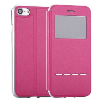 Image of   iphone 7/8 Delicate Metal Slide Touch Stand Leather Case - Magenta / under updatering