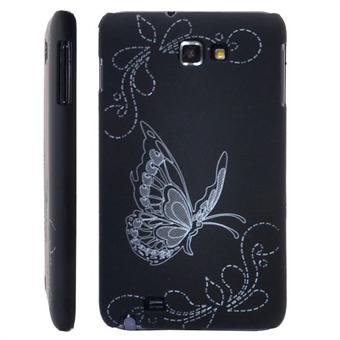 Image of   Galaxy Note Sommerfugl cover (Sort)