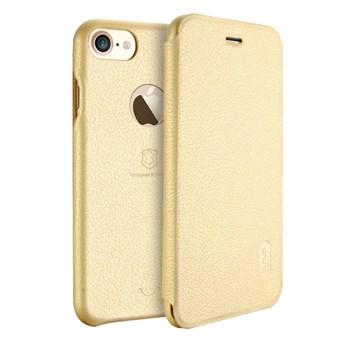 Image of   Lenuo Art Flip Etui i PU Læder og Plast til iPhone 7 Plus / iPhone 8 Plus - Guld