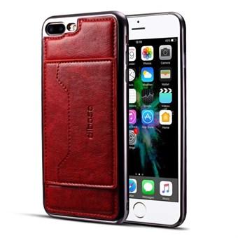 Image of   High Trend Cover i PU læder og TPU plast m/ Kortholder til iPhone 7 Plus / iPhone 8 Plus - Rød