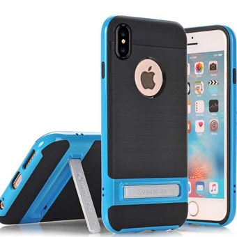 Image of   High Fashion Stander Cover i TPU plast og Silikone til iPhone X - Blå