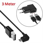 Elbow Micro USB to USB 2.0 Kabel 3 meter - Sort