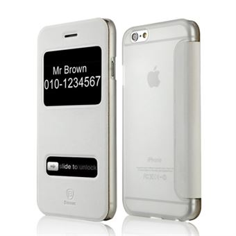 Image of   Baseus - Caller ID Læder Taske iPhone 6 / 6S (Hvid)
