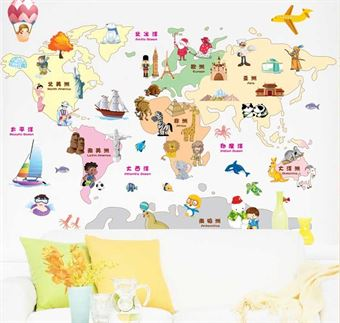 Image of   Wall Stickers - Cartoon map