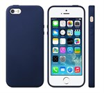 iPhone 5/5S/SE læder cover - Navy