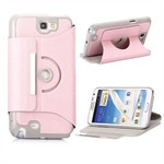 360° Roterende Galaxy Note 2 Etui (Pink)