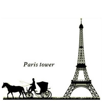 Image of   Wall Stickers - Eiffeltårnet og hestevogn
