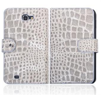 Image of   Samsung Note etui med krokodille Look (Sølv)