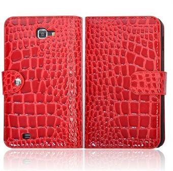 Image of   Samsung Note etui med krokodille Look (Rød)