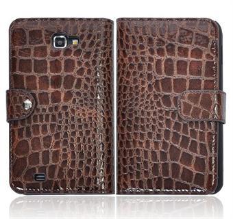 Image of   Samsung Note etui med krokodille Look (Brun)