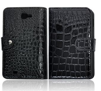 Image of   Samsung Note etui med krokodille Look (Sort)