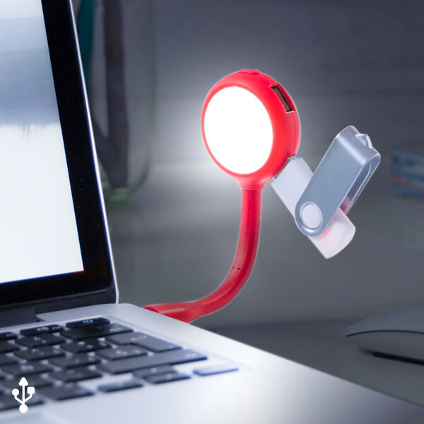 LED lampe med USB port 144858 - Rød