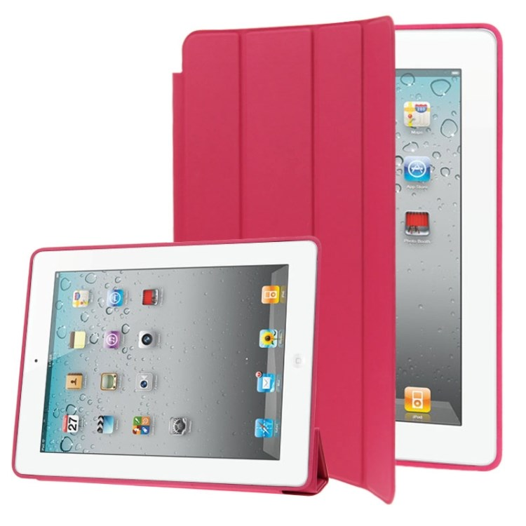 Stylish Smart Cover Sleep/ Wake-up til iPad 2 / iPad 3 / iPad 4 - Magenta
