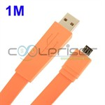 Fladt 1 Meter Micro USB Kabel (Orange)