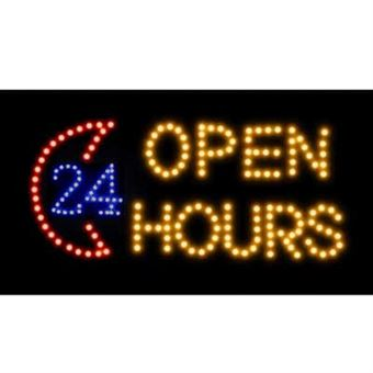 Image of   Skilt med lys - Open 24 Hours