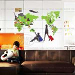 Wall Stickers - Green World Map