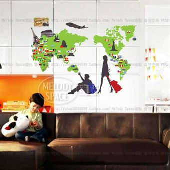 Image of   Wall Stickers - Green World Map