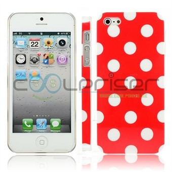 Image of   iPhone 5 Cover Dots (rød, hvid)