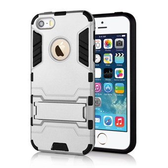 Image of   Cave hard plast- og TPU cover til iPhone 5/5S - Sølv