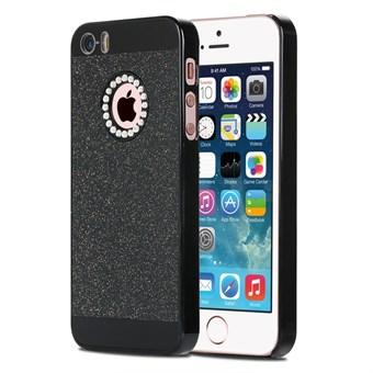 Diva design bling plastcover til iPhone 5/5S/SE - Sort