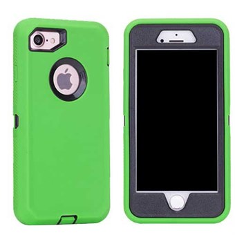 Image of   Cover all plast-/silikonecover til iPhone 7 / iPhone 8 - Grøn/sort
