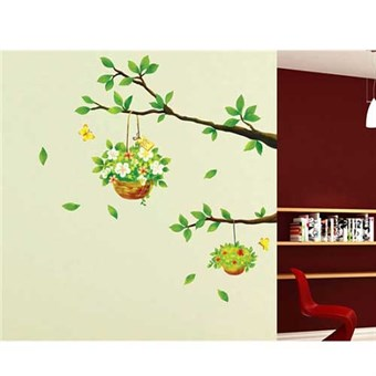 Image of   TipTop Wallstickers Beautiful Branches & Flower Baskets Design