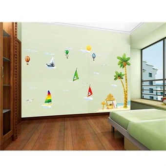 Image of   TipTop Wallstickers Beautiful Sandbeach and Coconut tree