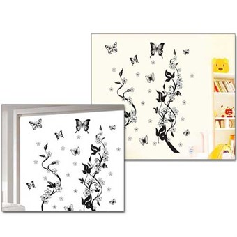 Image of   TipTop Wallstickers Black Butterfly and Tree Pattern Style