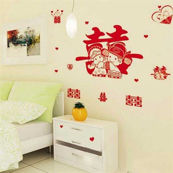 Image of   TipTop Wallstickers Cartoon Red Double Happiness Design