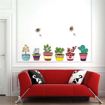 Image of   TipTop Wallstickers Colorized Pot Plant Flowers Design