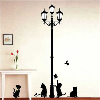 Image of   TipTop Wallstickers 50x70cm The Cats Under the Streetlights Design