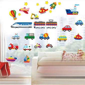 Image of   TipTop Wallstickers Colorful Car & Train & Truck Design Removable