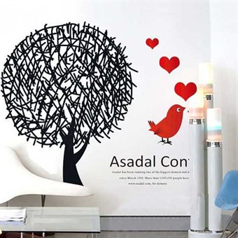 Image of   TipTop Wallstickers Black Trees & Red Birds Pattern
