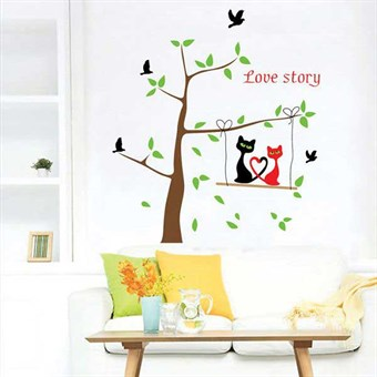 Image of   TipTop Wallstickers (Couple Cat & Tree)