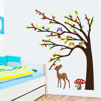 Image of   TipTop Wallstickers Colorful Tree& Owls & Deer Design Removable PVC Decals Girls Boys Kids Room