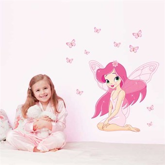 Image of   TipTop Wallstickers A Pink Girl with Wings Design PVC Decals Girls Boys Kids Room