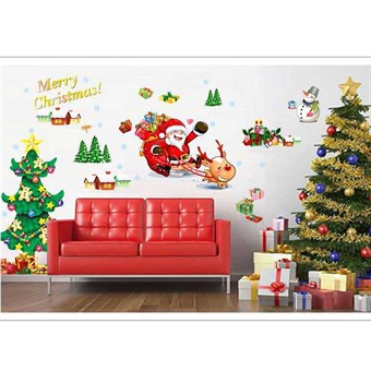 Image of   TipTop Wallstickers AY767 Christmas Style Santa Claus and Christmas Tree Pattern Removable PVC Decals Room